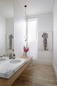 White And Wood Details Bathroom