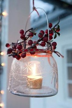Glass Jar, Votive and Sprig as Christmas Decoration