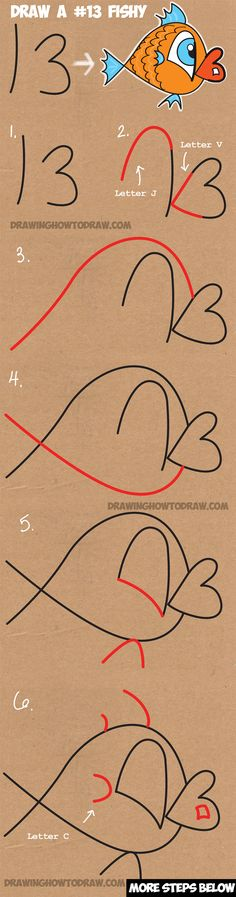 how-to-draw-cartoon-fish-from-number-13