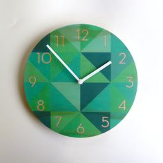 Objectify Teal Grid Clock With Neutra Numerals - Medium Size