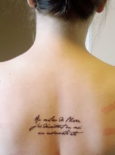 """Au milieu de l'hiver, j'ai découvert en moi un invincible été.""  - Albert Camus (in the depths of winter, I discovered there was in me an invincible summer) Awesome tattoo for after you beat cancer!!"