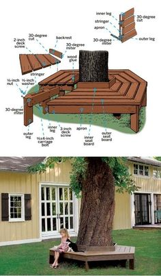 How to Build a Tree Bench. Would love to have one of these around the tree in front of my garden shed! Wish I had the skills/tools to do this on my own.Interior Design: bench around tree - outside benches (DIY idea) .Bench Around Tree Beautiful garde Bench Around Trees, Tree Bench, Tree Table, Backyard Projects, Outdoor Projects, Backyard Ideas On A Budget, Pergola Ideas, Wood Projects, Outdoor Spaces