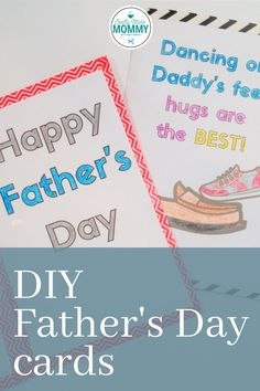 With a FREE PRINTABLE, your kids can make 2 different cards for dad. Follow the easy step-by-step instructions to create a card that will have dad happy this father's day. Show how dad is a superhero with this card great for preschoolers to color.  Or your kids can tell daddy how much they love him with the dancing on daddy's feet card. Making the cards are quick and easy.  Best of all they don't need a lot of supplies. #KidsFathersDayCards #FreePrintableFathersDay