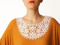 Handmade Ivory Crochet Cotton Lace Collar Necklace by EPUU on Etsy, $48.00