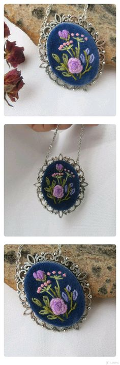 Embroidered necklace, navy blue necklace, embroidery