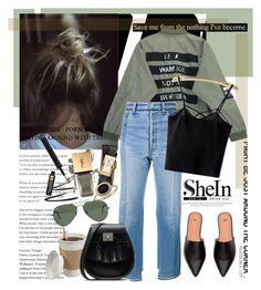 """""""SheIn - Black Top"""" by stylemeup-649 ❤ liked on Polyvore featuring Behance, Chicnova Fashion, Vetements, Tory Burch, Blue Nile, Ray-Ban, denim, bomberjacket and armygreen"""