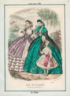 In the Swan's Shadow: Le Follet, September 1861 dress to the left