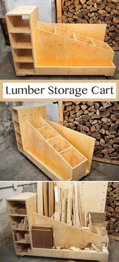 Woodworking - Wood Profit - I came up with my ideal lumber storage cart and crea. - Woodworking – Wood Profit – I came up with my ideal lumber storage cart and created the build p - Lumber Storage, Diy Garage Storage, Storage Cart, Wood Storage, Garage Organization, Organization Ideas, Pallet Storage, Furniture Storage, Diy Furniture