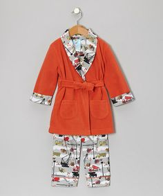 Take a look at this Red Clay Little Builder Bathrobe Set - Infant, Toddler & Boys by Baby Buns on #zulily today!