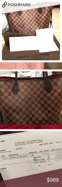 Authentic Louis Vuitton damier neverfull mm box Gorgeous Louis Vuitton damier ebene neverfull mm with box, duster and receipt. This bag is only one year old . No trades and price is firm. Louis Vuitton Bags Totes