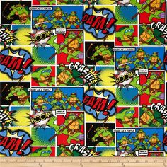 Nickelodeon Teenage Mutant Ninja Turtles Comic Patch Multi from @fabricdotcom  Licensed to Springs Creative Products, this cotton print fabric is perfect for quilting, apparel and home décor accents. Colors include shades of green, red, yellow, blue, and brown. This cotton print is licensed and not for commercial use.