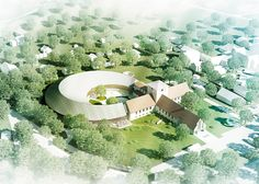 Nordic firm AART has won a competition to extend the Viking Age Museum building in Oslo, with plans to add a new curving wing to the cruciform plan