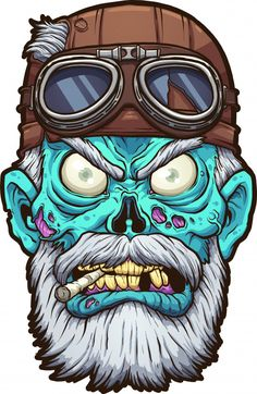 Old cartoon zombie biker head with leather helmet clip art. Vector illustration with simple gradients. All in a single layer. Zombie Kunst, Arte Zombie, Zombie Art, Zombie Cartoon, Cartoon Art, Zombie Disney, Zombie Illustration, Arte Punk, Skull Art