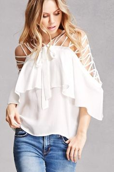 A woven chiffon top featuring an open-shoulder with a caged and strappy design, a flounce layer that falls into 3/4 sleeves, a center-front self-tie, and a billowy silhouette.<p>- This is an independent brand and not a Forever 21 branded item.</p>