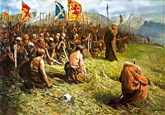 The Abbot of Inchaffray holding mass before the Battle of Bannockburn. Scottish Army, Picts, Chainmaille, Writing Prompts, Family History, Sword, Warriors, Britain, Celtic