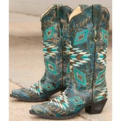 Corral Aztec Cowboy Boot ($270) ❤ liked on Polyvore featuring shoes, boots, turquoise, tall western boots, embroidered cowboy boots, tall boots, cowgirl boots and cutout boots
