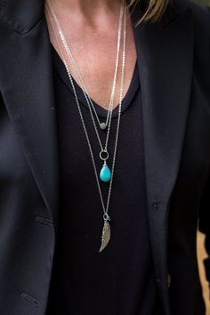 Long Turquoise Necklace Silver Angel by AlisonStorryJewelry $105.00 A set of three long layering boho necklaces. Check out the collection @ www.etsy.com/shop/alisonstorryjewerly