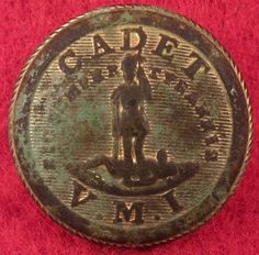 Confederate Civil War Buttons ~ Virginia Military Institute Button;Recovered: Brownsburg, Virginia