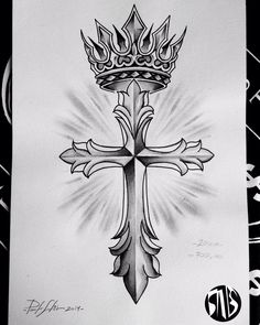 How to customize your cross tattoos - tattoos Crown Tattoo Design, Tattoo Design Drawings, Tattoo Sketches, Cross With Wings Tattoo, Cross Tattoo For Men, Cross Tattoos, Hand Tattoos, Body Art Tattoos, Sleeve Tattoos