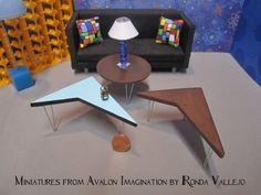 Miniature dollhouse Mid Century Modern Tables by MiniaturesfromAvalon