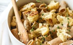 Thick rigatoni pasta is tossed in a cream sauce made from almond milk ...