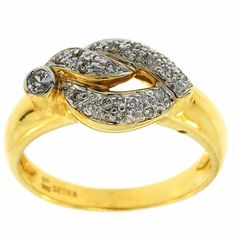 0.25 Cttw G VS Round Diamonds Cocktail Ring in 14K Two Tone Gold by GetDiamondsDirect on Etsy