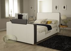 iMedia White/Grey with Storage- 4ft6 Double TV Bed + FREE Delivery & Installation Tv Beds, Beds For Sale, Beds Online, King Size, Free Delivery, Mattress, Storage, Grey, Furniture