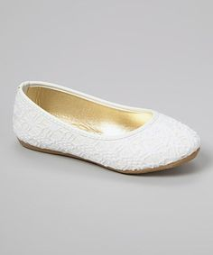 This Ositos Shoes White Crochet Glitter Flat by Ositos Shoes is perfect! #zulilyfinds