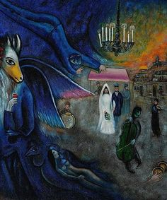 Wedding by Marc Chagall  Love the darkness of this painting,the horseman looks like the lover of the bride ; )