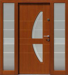Drzwi zewnętrzne ze stałymi dostawkami doświetlami bocznymi model 445,11+ds1 w kolorze złoty dąb