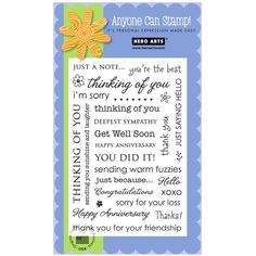 """Use this Hero Arts® Everyday Sayings Clear Stamp Set to find just the right message. This assortment of message stamps suits many of your needs. The 4""""x 6"""" set is made from premium grade photopolymer for true impressions every time. Each stamp is easy to use and easy to clean, allowing each area to continue to cling easily while working on your project."""