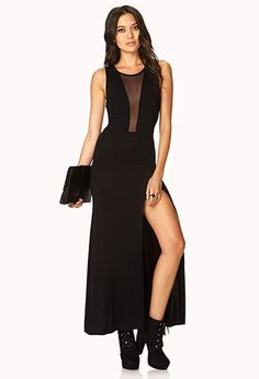 Showstopper Mesh-Trimmed Maxi Dress | FOREVER21 - 2031558107