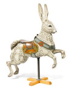 William Dentzel Carousel Company ~ A carved basswood carousel Rabbit, c. 1905