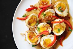 [Photograph: Leela Punyaratabandhu] Sour, sweet, and salty, this dish represents what people love about Thai cuisine. It may look complicated to make but it's quite easy. If you have hard-boiled eggs on hand, these son-in-law eggs will be ready in...