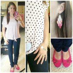 Light pink polka dot t-shirt & skinny jeans. Cute look for summer.