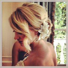 Wedding hair. Romantic wedding hair. Wavy up do. Bridal hair style. Ash and co. Charleston sc
