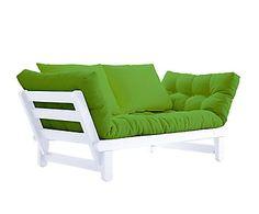 Sofá convertible en cama futón Beat - blanco y lima