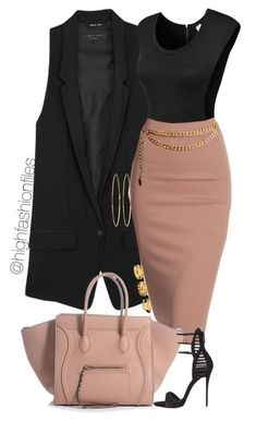 Long Vest and Pink Pencil Skirt