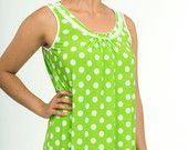 Treasury feature!  Ladies Spring Nightgown - Women's Sleeveless Pajama Dress Green White Polka Dot Bow Lace - Comfortable Summer Sleepwear Small Medium Large