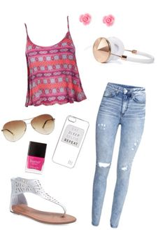 Cute and casual spring and or summer girlie outfit for teen girls...