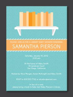 Library Baby Shower Invitation by PaperPerfectionist on Etsy. $20.00, via Etsy.