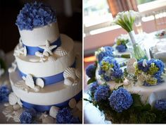Not sure about the seashells but periwinkle and hydrangeas, YES