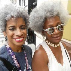 Beautiful black women gracefully killing in gray hair - Afro Hair Afro Hairstyles, Black Women Hairstyles, Senior Hairstyles, Hairstyles 2018, Haircuts, Natural Hair Twist Out, Natural Hair Styles, Silver Grey Hair, Gray Hair