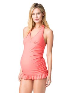 66e9c43994964 Destination Maternity Jessica Simpson Halter Maternity One Piece Swimsuit