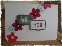 Hello you card with the stamp from the @Studio_Calico  Valley High Card Kit.