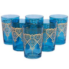Found Object: Punto Glass Blue Set Of 6