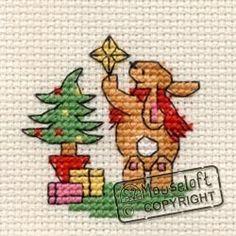 Stitchlets Christmas Card Cross Stitch Kit - Bunny's Decorations
