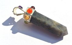Labradorite 7 Chakra Pencil Point Pendant Reiki by RareGemsNJewels