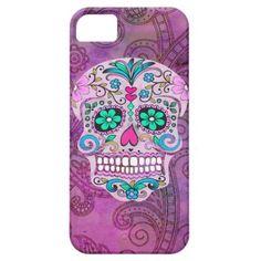 Hipster Sugar Skull Pink Teal Blue Floral Pattern iPhone 5 Case