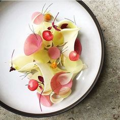 | Granny Smith Apples • Raspberry Poached Kohlrabi • Gooseberries • Cucumber | By @czarneckigregory